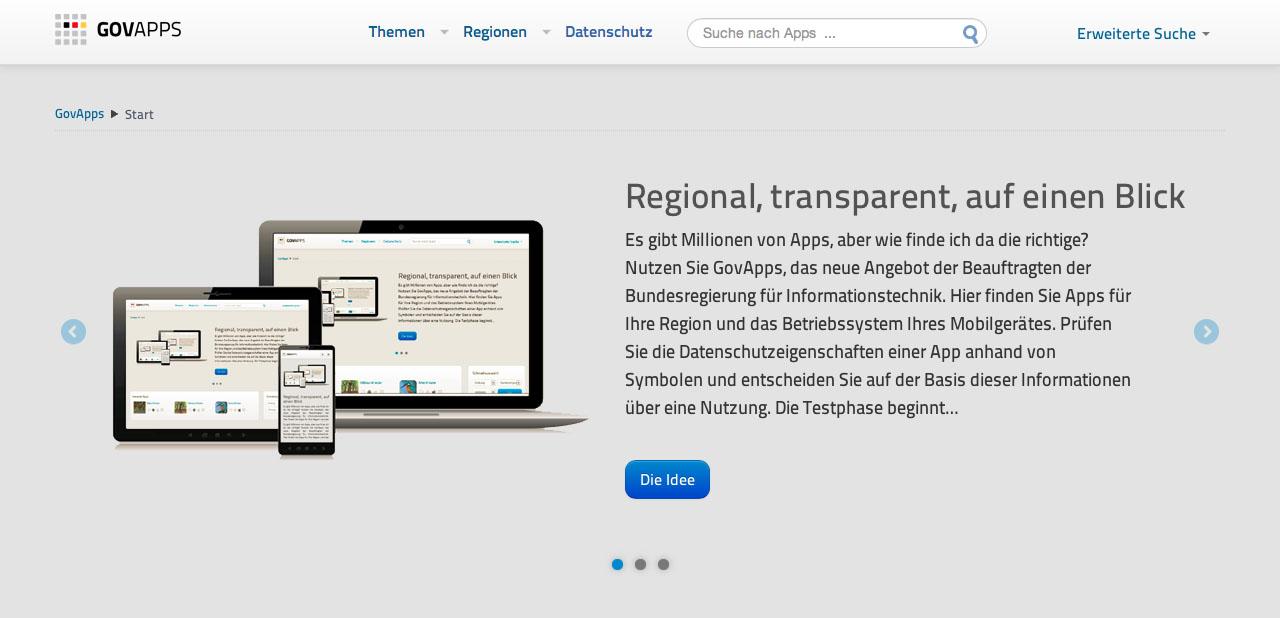 Bildschirmfoto: govapps.de